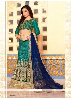 Arresting Sea Green Net Lehenga Choli