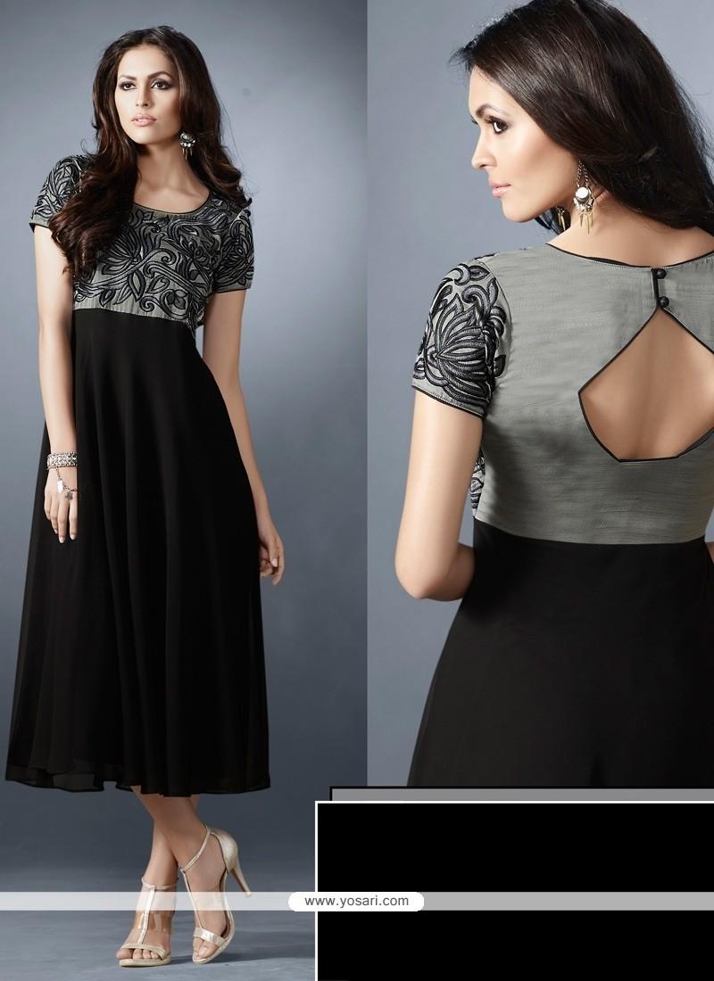 Sunshine Georgette Black Embroidered Work Designer Kurti