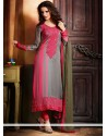 Grey And Pink Georgette Churidar Suit
