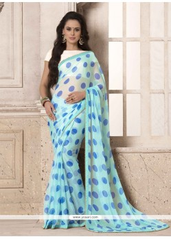 Masterly Blue Georgette Printed Saree