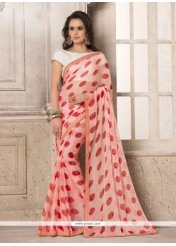 Adorable Rose Pink Printed Saree