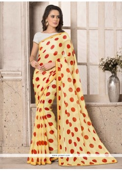 Catchy Faux Chiffon Print Work Printed Saree