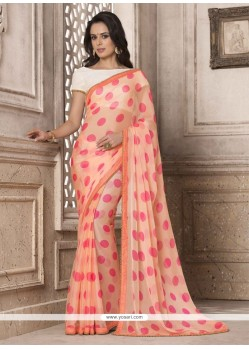 Bedazzling Print Work Peach Printed Saree