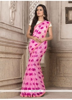 Observable Print Work Hot Pink Georgette Printed Saree