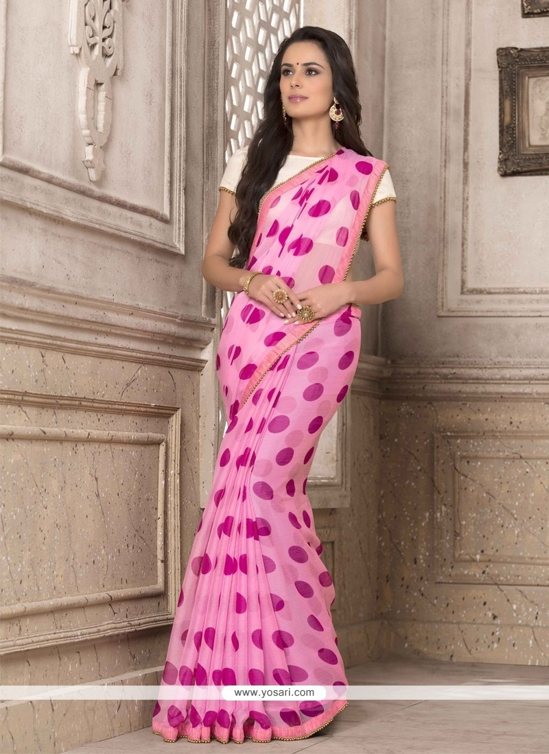 Observable Print Work Hot Pink Georgette Printed Saree