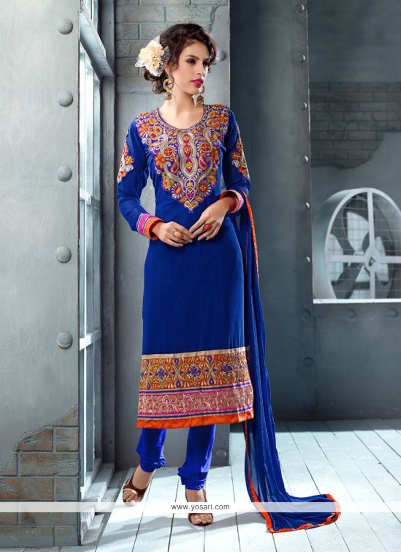 Lovely Blue Georgette Churidar Suit