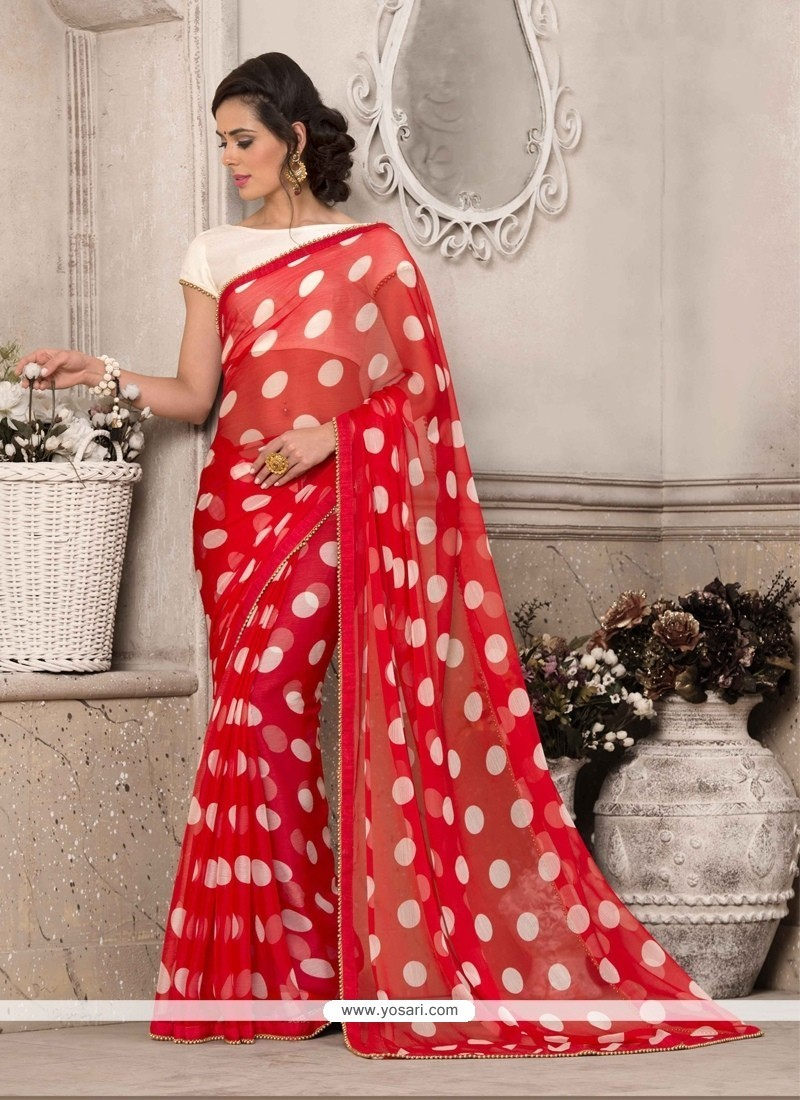 Exciting Red Print Work Printed Saree