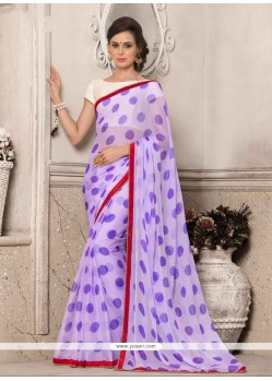 Impressive Georgette Purple Printed Saree
