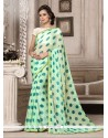 Print Faux Chiffon Printed Saree In Sea Green