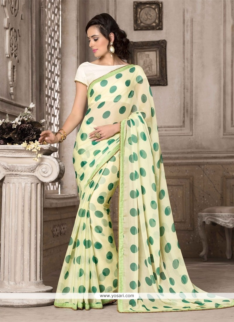 Eye-catchy Georgette Green Printed Saree