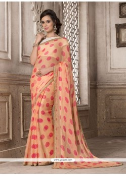 Artistic Georgette Peach Printed Saree
