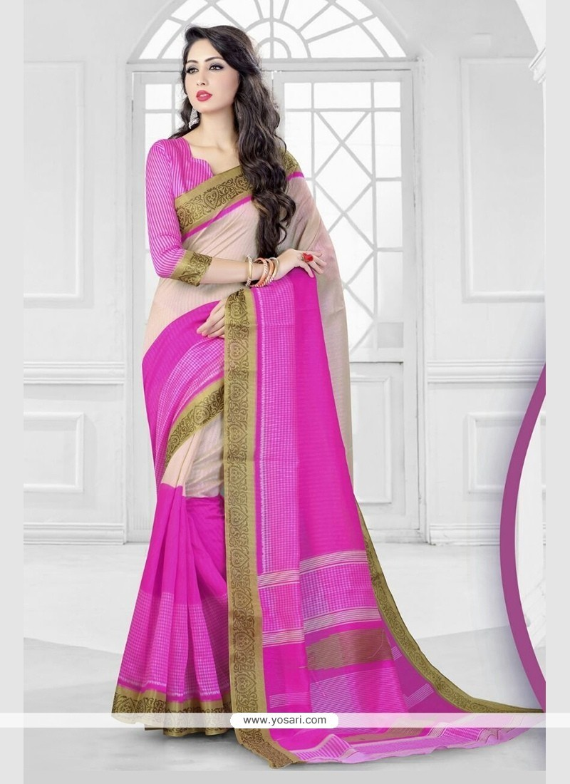 Fine Silk Hot Pink Patch Border Work Classic Saree