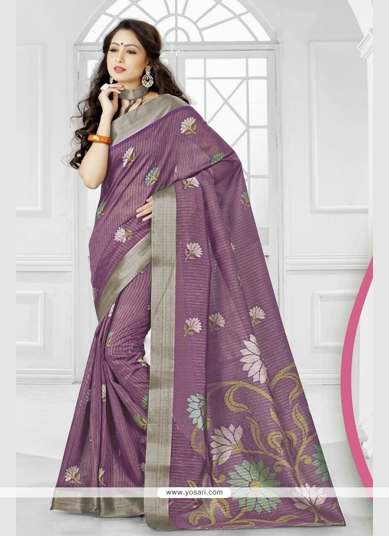 Miraculous Purple Printed Saree