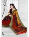 Conspicuous Multi Colour Patch Border Work Silk Printed Saree
