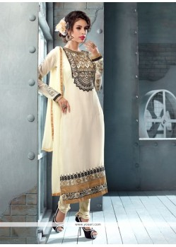 Off White Embroidery Georgette Churidar Suit