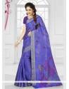 Fine Silk Purple Printed Saree