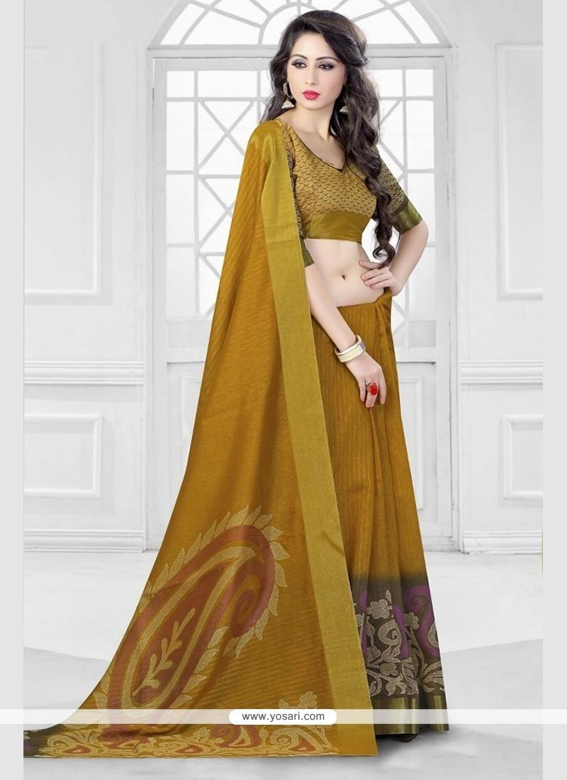 Transcendent Silk Mustard Printed Saree