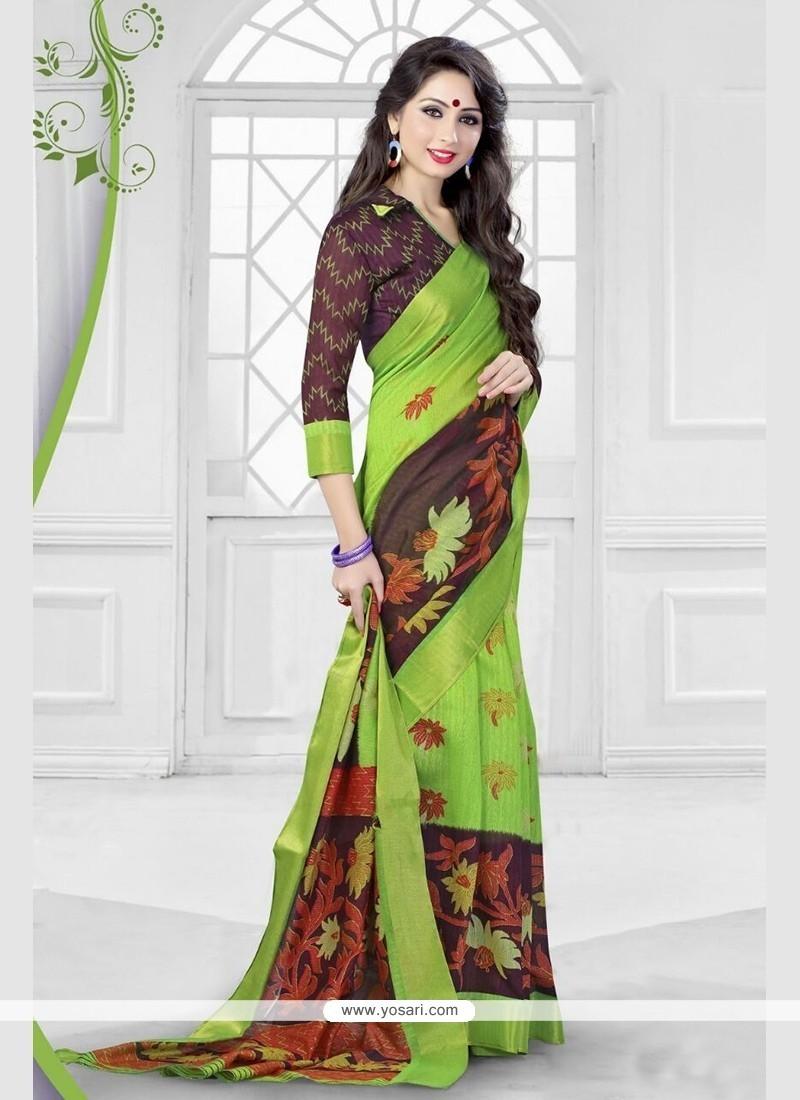Scintillating Silk Print Work Printed Saree