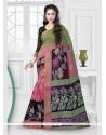 Baronial Patch Border Work Silk Printed Saree