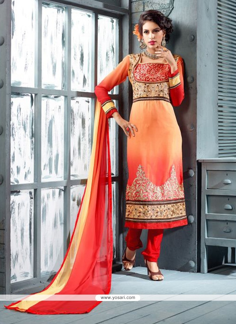 Peach Georgette Churidar Salwar Suit