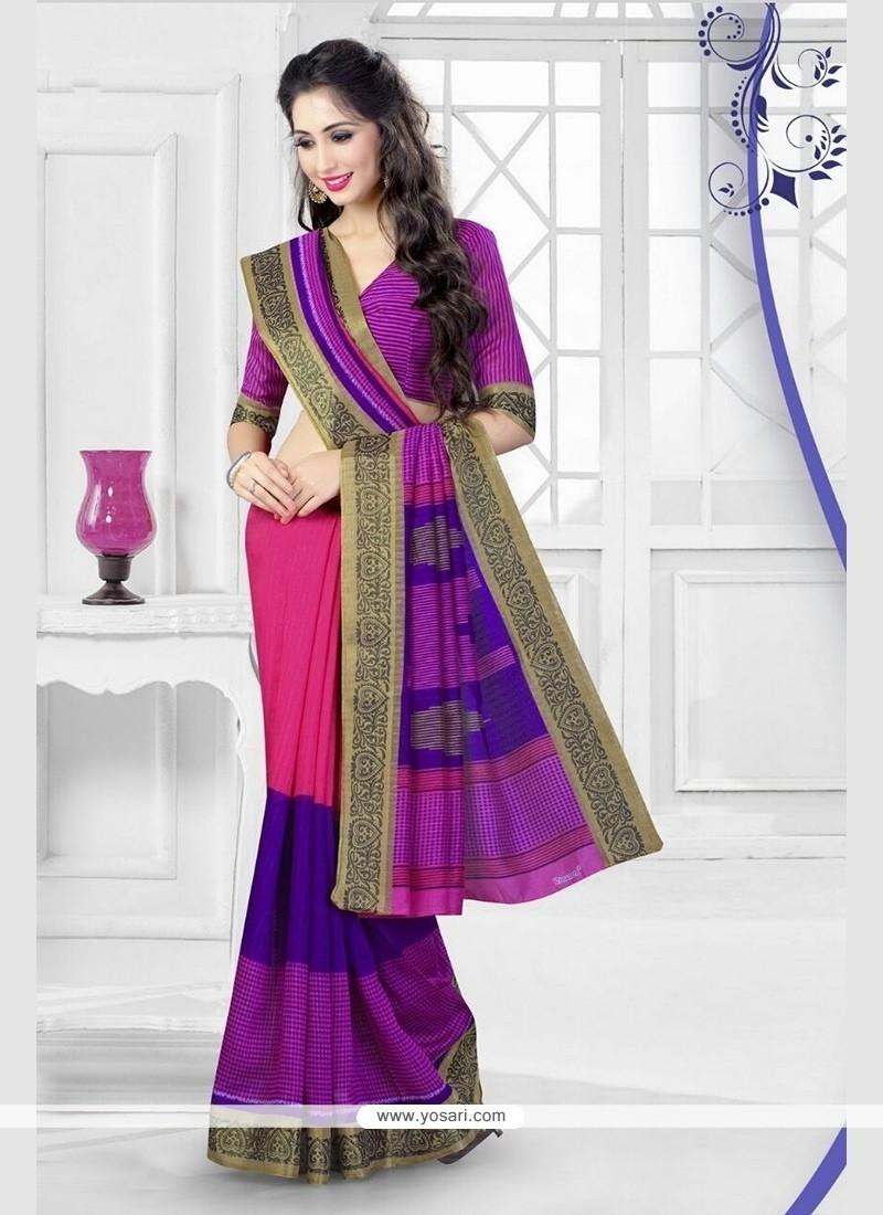 Snazzy Silk Hot Pink Printed Saree