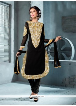 Charming Black Georgette Churidar Suit