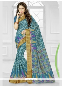 Ethnic Blue Silk Printed Saree