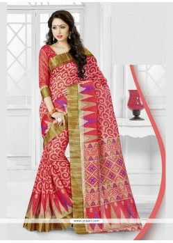 Graceful Silk Rose Pink Printed Saree