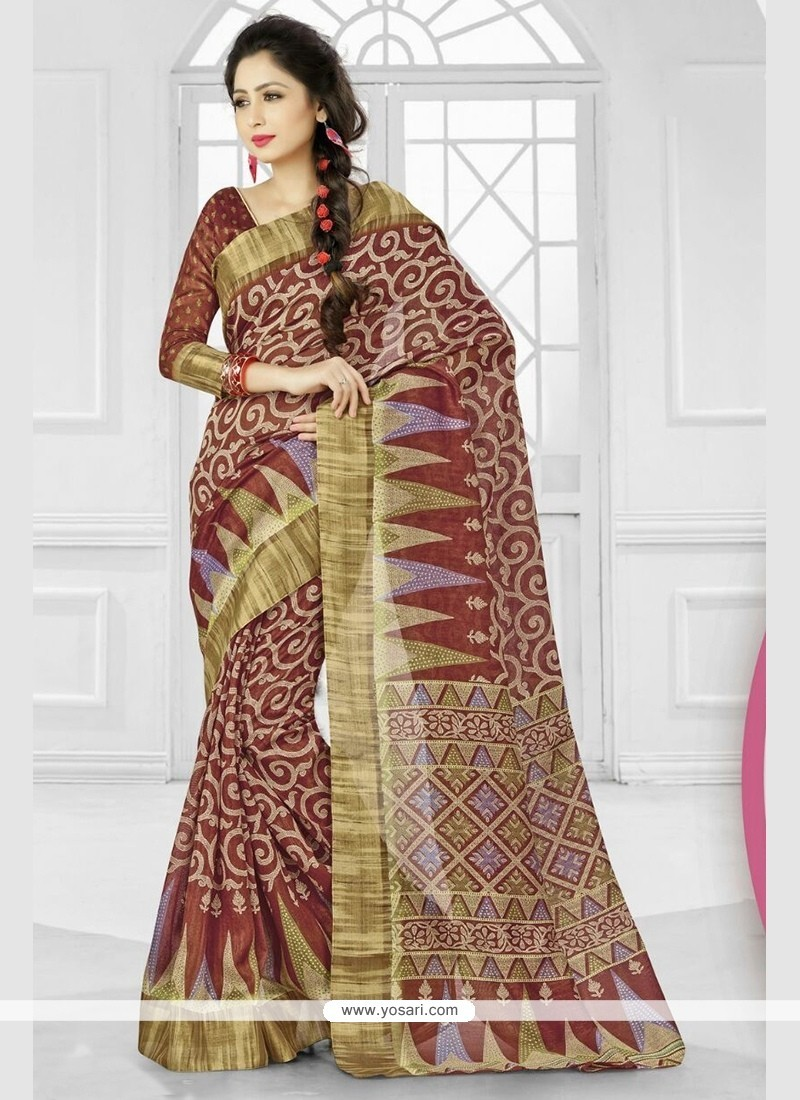 Patch Border Silk Classic Saree In Brown