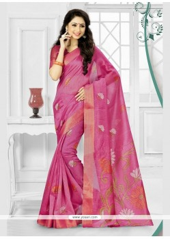 Blooming Silk Hot Pink Printed Saree