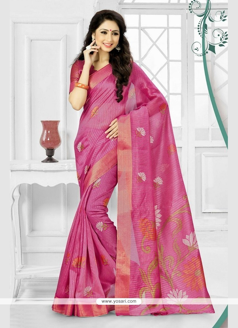 Blooming Silk Hot Pink Printed Saree