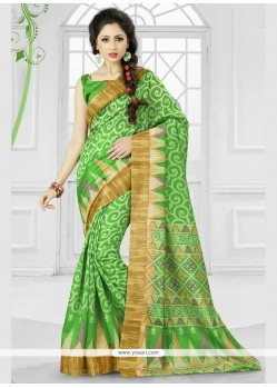 Modest Silk Patch Border Work Printed Saree