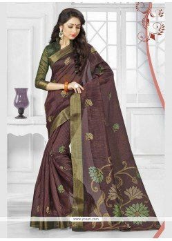 Brown Print Work Silk Printed Saree