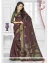 Brown Print Work Silk Printed Saree