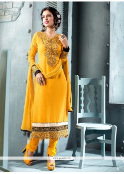 Mustard Embroidery Work Churidar Suit
