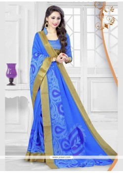 Striking Silk Patch Border Work Printed Saree
