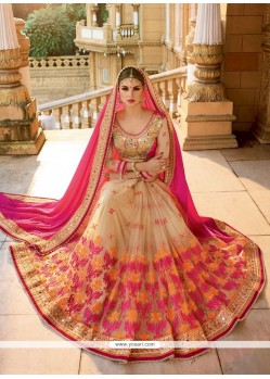 Astounding Embroidered Work Beige And Hot Pink Designer Half N Half Saree