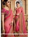 Savory Faux Crepe Hot Pink Designer Half N Half Saree
