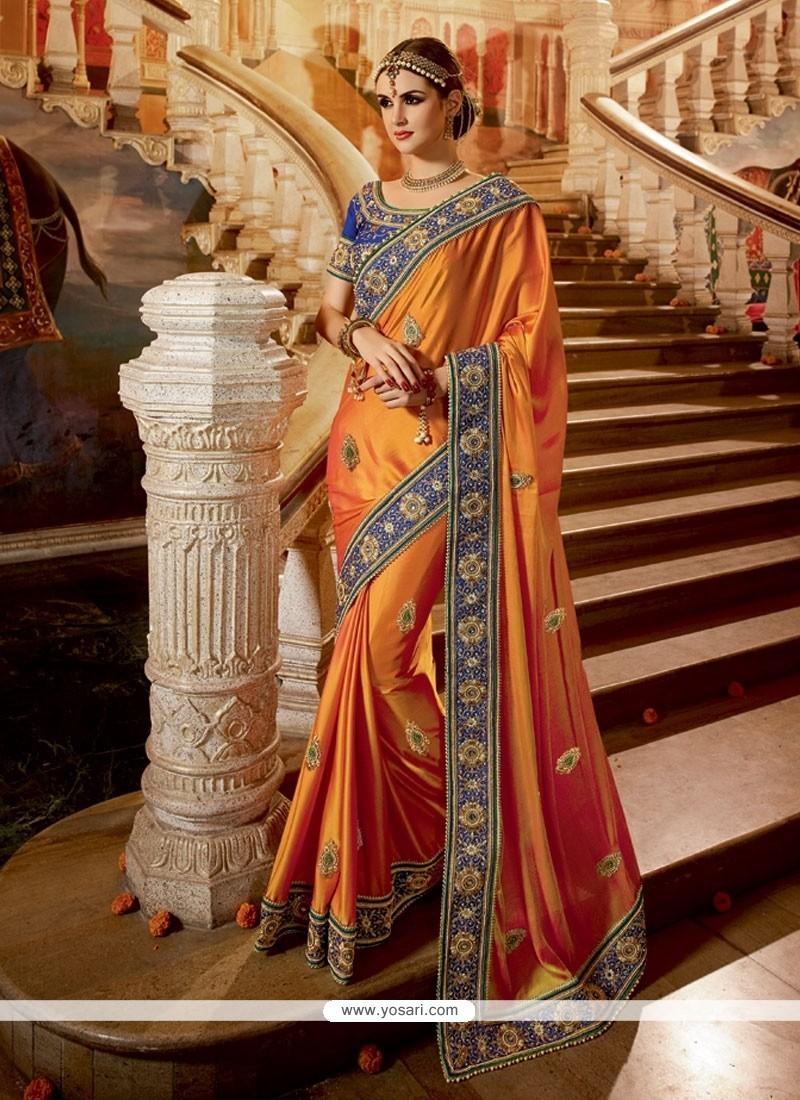 Embroidered Chiffon Satin Classic Designer Saree In Orange