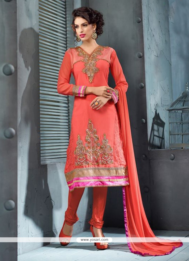 Dazzling Peach Georgette Churidar Suit