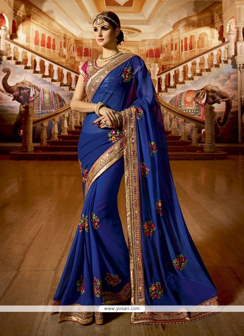 Heavenly Blue Embroidered Work Georgette Classic Designer Saree