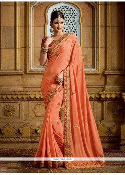 Flattering Georgette Orange Embroidered Work Classic Designer Saree