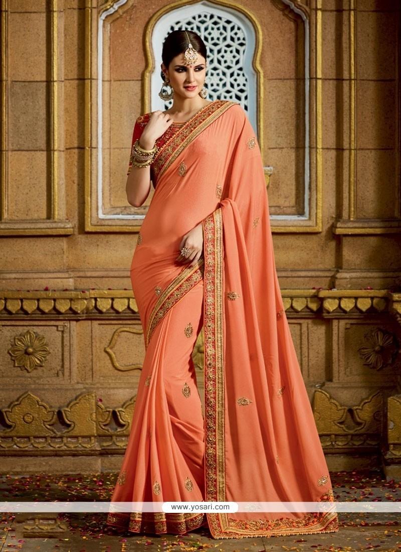 Flattering Georgette Orange Embroidered Work Classic Designer Saree