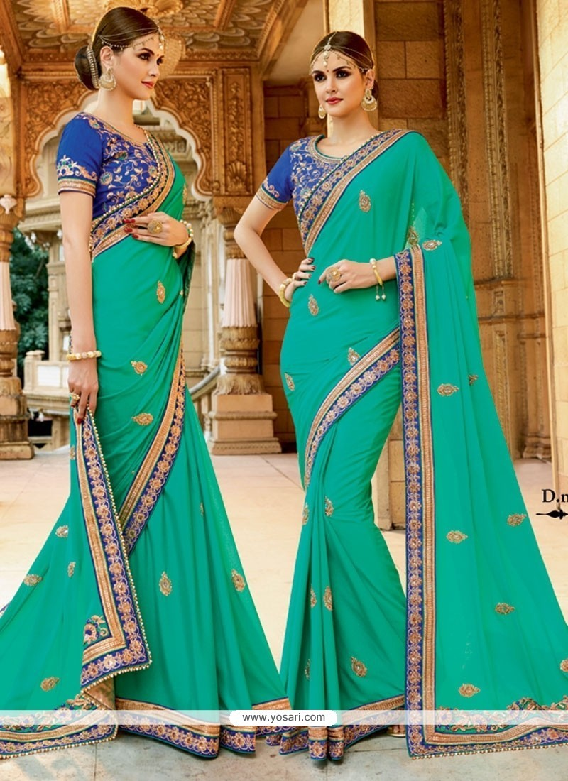 Adorning Georgette Sea Green Patch Border Work Designer Traditional Sarees