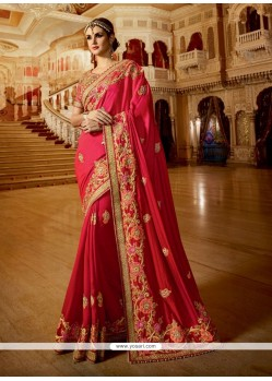 Winsome Chiffon Satin Hot Pink Embroidered Work Classic Designer Saree