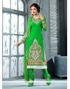 Glorious Green Embroidery Work Churidar Suit