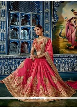 Resplendent Crepe Jacquard Hot Pink Designer Half N Half Saree