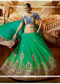 Sunshine Sea Green Georgette Designer Half N Half Saree