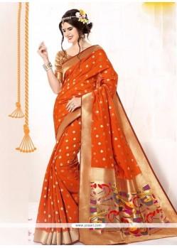 Prime Orange Patch Border Work Banarasi Silk Classic Designer Saree