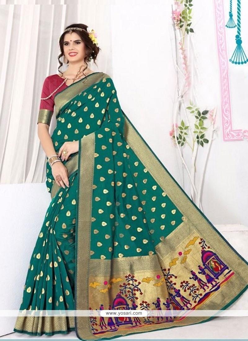 Exceeding Patch Border Work Banarasi Silk Classic Saree